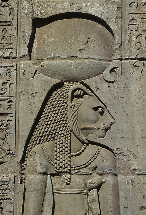 Detail of a relief Bastet –Kom Ombo.jpg